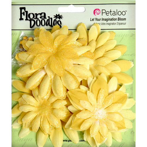 Petaloo - Flora Doodles Collection - Layering Fabric and Glitter Flowers - Daisies - Large - Canary Yellow