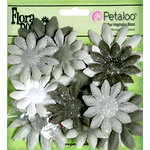 Petaloo - Flora Doodles Collection - Layering Fabric and Glitter Flowers - Daisies - Small - Silver Gray
