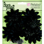 Petaloo - Flora Doodles Collection - Layering Fabric and Glitter Flowers - Daisies - Small - Black