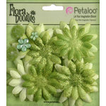 Petaloo - Flora Doodles Collection - Layering Fabric Flowers - Daisies - Small - Lime Green
