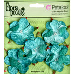 Petaloo - Flora Doodles Collection - Velvet Wild Roses - Small - Aqua Blue