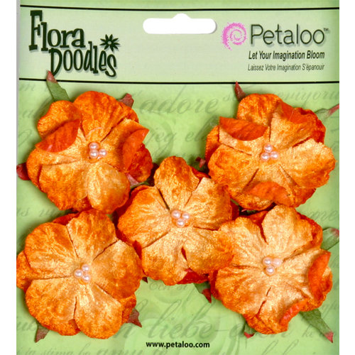 Petaloo - Flora Doodles Collection - Velvet Wild Roses - Small - Orangeade