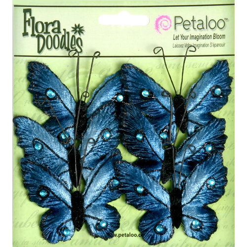 Petaloo - Flora Doodles Collection - Velvet Butterflies - Medium - Deep Blue