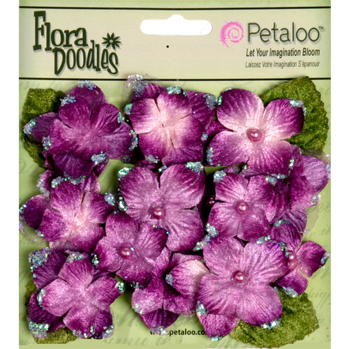 Petaloo - Flora Doodles Collection - Velvet Hydrangeas - Plum
