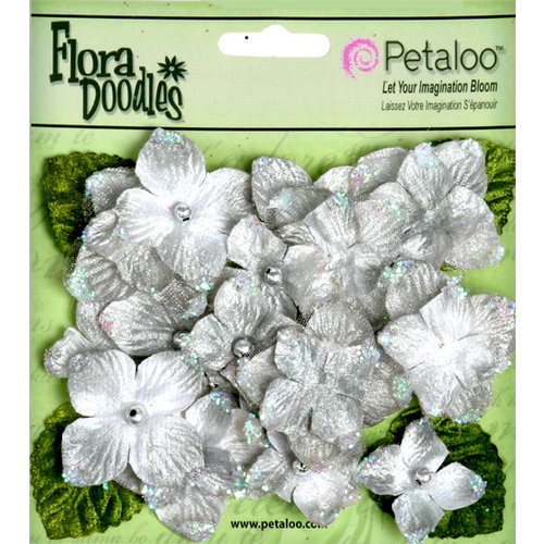 Petaloo - Flora Doodles Collection - Velvet Hydrangeas - Silver Gray