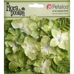 Petaloo - Flora Doodles Collection - Velvet Hydrangeas - Lime Green