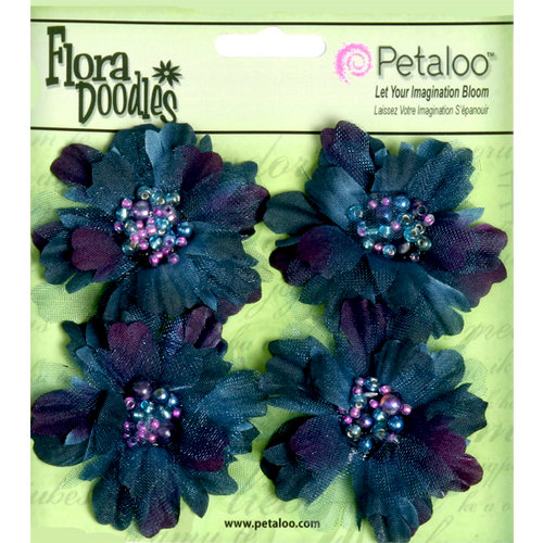 Petaloo - Flora Doodles Collection - Beaded Peonies - Small - Deep Blue