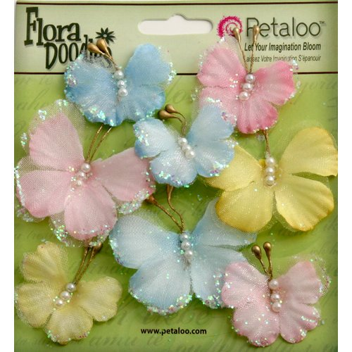 Petaloo - Flora Doodles Collection - Sheer Butterflies - Blue Pink and Yellow