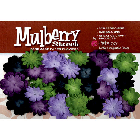 Petaloo - Mulberry Street Collection - Handmade Paper Flowers - Mini Delphiniums - Lavender Purple Green and Black