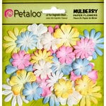 Petaloo - Flora Doodles Collection - Mulberry Flowers - Mini - Delphiniums - Soft Pink Soft Blue Soft Yellow and White