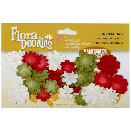 Petaloo - Flora Doodles Collection - Handmade Paper Flowers - Mini Delphiniums - Traditional Christmas, CLEARANCE