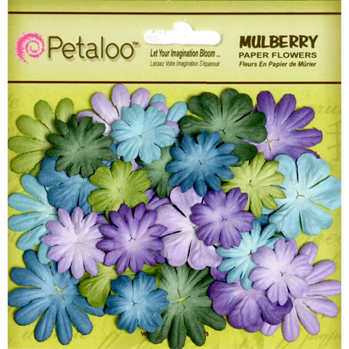 Petaloo - Flora Doodles Collection - Mulberry Flowers - Mini - Delphiniums - Cooltones
