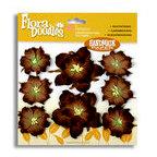 Petaloo - Flora Doodles - Handmade Paper Flowers - Wild Roses - Dark Brown, CLEARANCE