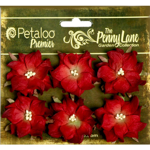 Petaloo - Penny Lane Collection - Floral Embellishments - Wild Roses - Mulberry Street - Red