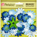Petaloo - Flora Doodles Collection - Mulberry Flowers - Mini Daisies with Tyedye - Blue