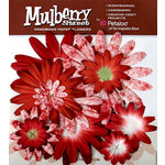 Petaloo - Mulberry Street Collection - Handmade Paper Flowers - Large Daisies with Tyedye - Red, CLEARANCE