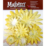 Petaloo - Mulberry Street Collection - Handmade Paper Flowers - Large Daisies with Tyedye - Yellow