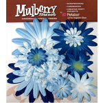 Petaloo - Mulberry Street Collection - Handmade Paper Flowers - Large Daisies with Tyedye - Blue, CLEARANCE
