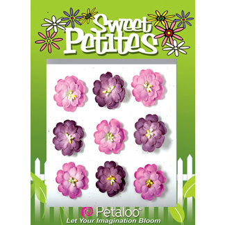 Petaloo - Sweet Petites Collection - Handmade Paper Flowers - Doubled Mulberry Delphiniums - Lavender Mix, CLEARANCE