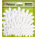 Petaloo - Flora Doodles Collection - Embossed Mulberry Flowers - Daisies - White