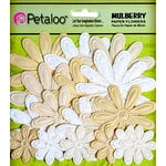 Petaloo - Flora Doodles Collection - Embossed Mulberry Flowers - Daisies - Vanilla Cream