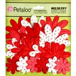 Petaloo - Flora Doodles Collection - Embossed Mulberry Flowers - Daisies - Red