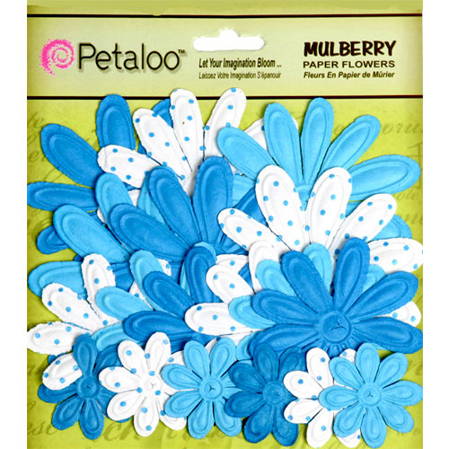 Petaloo - Flora Doodles Collection - Embossed Mulberry Flowers - Daisies - Blue