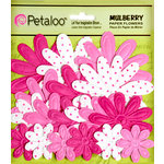 Petaloo - Flora Doodles Collection - Embossed Mulberry Flowers - Daisies - Fuschia