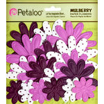 Petaloo - Flora Doodles Collection - Embossed Mulberry Flowers - Daisies - Eggplant