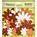Petaloo - Flora Doodles Collection - Embossed Mulberry Flowers - Daisies - Mocha