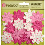 Petaloo - Flora Doodles Collection - Embossed Mulberry Flowers - Daisies - Mini - Fuchsia