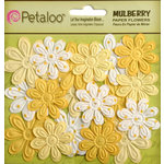 Petaloo - Flora Doodles Collection - Embossed Mulberry Flowers - Daisies - Mini - Tulip Yellow