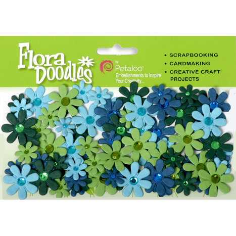 Petaloo - Flora Doodles Collection - Handmade Paper Flowers - Jeweled Florettes - Light Blue Dark Blue and Green, CLEARANCE