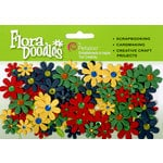 Petaloo - Flora Doodles Collection - Handmade Paper Flowers - Jeweled Florettes - Red Yellow Dark Blue and Green, CLEARANCE