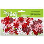 Petaloo - Flora Doodles Collection - Handmade Paper Flowers - Jeweled Florettes - Valentines Day Red