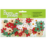Petaloo - Flora Doodles Collection - Handmade Paper Flowers - Jeweled Florettes - Traditional Christmas, CLEARANCE