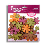 Petaloo - Flora Doodles Collection - Flowers - Fancy Foam Flowers - Green, Brown, Orange and Burgandy, CLEARANCE