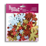 Petaloo - Flora Doodles Collection - Flowers - Fancy Foam Flowers - Red, Green, Blue and Brown, CLEARANCE