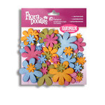 Petaloo - Flora Doodles Collection - Flowers - Fancy Foam Flowers - Fuschia, Green, Blue and Orange, CLEARANCE
