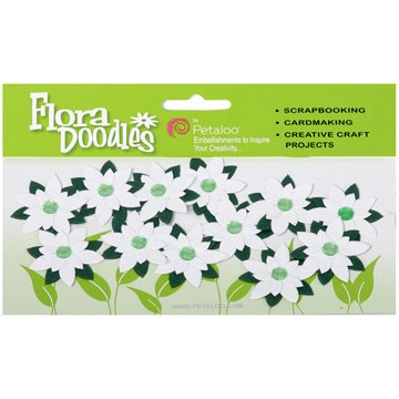 Petaloo - Flora Doodles Collection - Handmade Paper Flowers - Jeweled Poinsettias - White, CLEARANCE