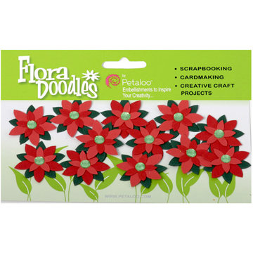 Petaloo - Flora Doodles Collection - Handmade Paper Flowers - Jeweled Poinsettias - Red, CLEARANCE