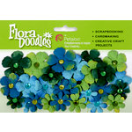 Petaloo - Flora Doodles Collection - Handmade Paper Flowers - Tye-Dyed Gypsies - Light Blue Dark Blue and Green, CLEARANCE