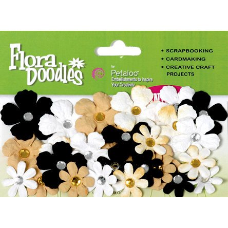 Petaloo - Flora Doodles Collection - Handmade Paper Flowers - Tye-Dyed Gypsies - Black Gold and White, CLEARANCE