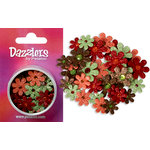 Petaloo - Dazzlers Collection - Small Glittered Florettes - Green Brown Orange and Burgundy, CLEARANCE