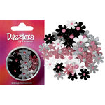 Petaloo - Dazzlers Collection - Small Glittered Florettes - Pink Grey White and Black