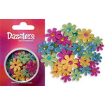 Petaloo - Dazzlers Collection - Small Glittered Florettes - Fuschia Blue Green and Yellow
