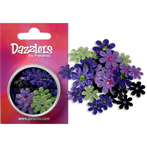 Petaloo - Dazzlers Collection - Small Glittered Florettes - Purple Black Lavender and Green, CLEARANCE