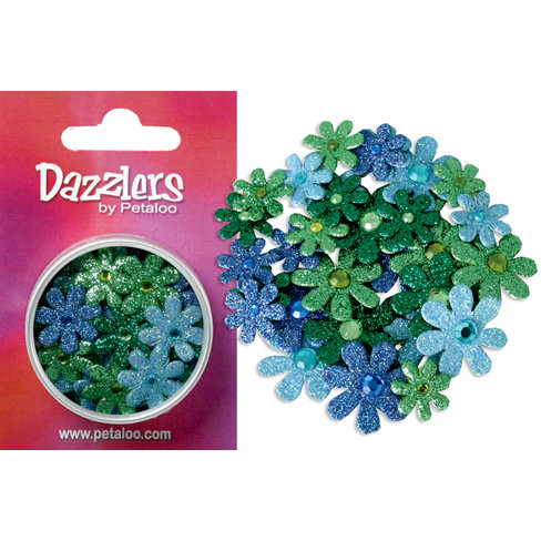 Petaloo - Dazzlers Collection - Small Glittered Florettes - Dark Blue Light Blue Green and Chartreuse, CLEARANCE