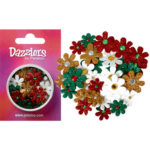 Petaloo - Dazzlers Collection - Small Glittered Florettes - Traditional Christmas - Red Green Gold and White, CLEARANCE