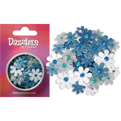 Petaloo - Dazzlers Collection - Small Glittered Florettes - Dark Blue Light Blue White and Silver, CLEARANCE